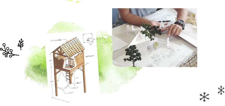 木の遊具模型